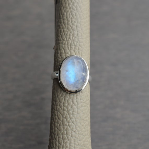 Natural Rainbow Moonstone Ring-blue Fire Moonstone Ring-handmade Silver Ring-925 Sterling Silver-gift For Her-promise Ring-anniversary Ring