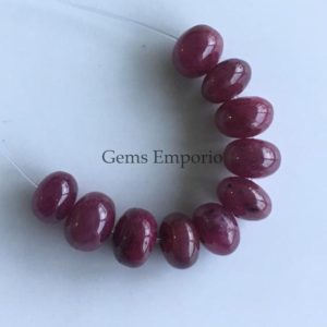 Shop Ruby Rondelle Beads! Natural Ruby 6 mm Round Rondelle Smooth Beads, Fine Quality, Loose Beads, Price Per 1 Bead. | Natural genuine rondelle Ruby beads for beading and jewelry making.  #jewelry #beads #beadedjewelry #diyjewelry #jewelrymaking #beadstore #beading #affiliate #ad
