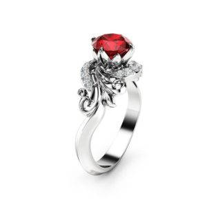 Natural Ruby Engagement Ring 14K White Gold Ring Ruby Petal Engagement Ring | Natural genuine Array rings, simple unique alternative gemstone engagement rings. #rings #jewelry #bridal #wedding #jewelryaccessories #engagementrings #weddingideas #affiliate #ad