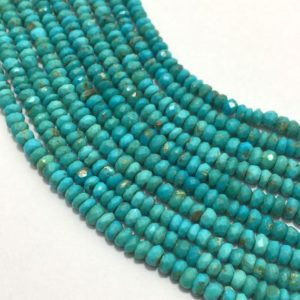 "Natural Sleeping Beauty Turquoise from Arizona Micro Faceted Rondelle 3.25 mm to 3.75mm 13"" Stone Beads/Sleeping Beauty/Arizona Turquoise 