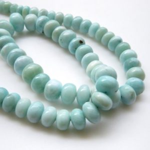"Shop Larimar Rondelle Beads! Natural Smooth Larimar Rondelle Beads, 6mm To 10mm Larimar Beads for Larimar Jewelry, Larimar Stone, Sold As 19""/9.5 Inch Strand, GDS1335 