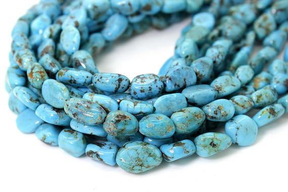 Natural Turquoise Beads, Genuine Turquoise Smooth Rough Rondelle Nugget Chip Loose Gemstone Beads (assorted Size) - Pgs246