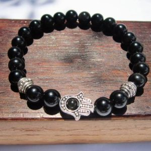 Hamsa Hand Black Obsidian Bracelet Black Obsidian Fatima Hand Bracelet Hamsa Hand Obsiadian Bracelet Hamsa Hand Obsidian Protection | Natural genuine Obsidian bracelets. Buy crystal jewelry, handmade handcrafted artisan jewelry for women.  Unique handmade gift ideas. #jewelry #beadedbracelets #beadedjewelry #gift #shopping #handmadejewelry #fashion #style #product #bracelets #affiliate #ad