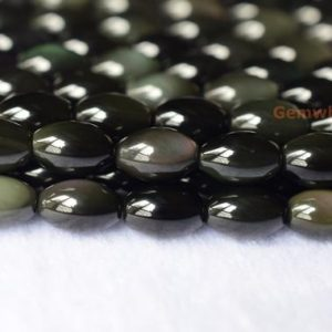 "Shop Obsidian Bead Shapes! 15.5"" 7x10mm Natural rainbow black obsidian rice beads, olive shape semi precious stone beads YGLO 