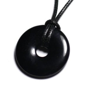 Shop Obsidian Pendants! Semi precious – Donut Pi 30mm black Obsidian stone pendant necklace | Natural genuine Obsidian pendants. Buy crystal jewelry, handmade handcrafted artisan jewelry for women.  Unique handmade gift ideas. #jewelry #beadedpendants #beadedjewelry #gift #shopping #handmadejewelry #fashion #style #product #pendants #affiliate #ad