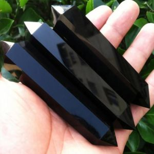 Shop Obsidian Points & Wands! Large Black Obsidian Double Terminated Crystal Point Wand | Natural genuine stones & crystals in various shapes & sizes. Buy raw cut, tumbled, or polished gemstones for making jewelry or crystal healing energy vibration raising reiki stones. #crystals #gemstones #crystalhealing #crystalsandgemstones #energyhealing #affiliate #ad