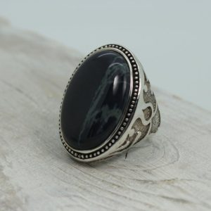 Shop Obsidian Rings! Big spider web Obsidian stone ring oval shape cab stone set on solid 925 sterling silver bezel large sides amazing quality jewelry | Natural genuine Obsidian rings, simple unique handcrafted gemstone rings. #rings #jewelry #shopping #gift #handmade #fashion #style #affiliate #ad