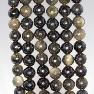 Shop Obsidian Beads! 6mm Chatoyant Golden Sheen Obsidian Gemstone Grade AA Round Loose Beads 15.5 inch Full Strand (90182837-400) | Natural genuine beads Obsidian beads for beading and jewelry making.  #jewelry #beads #beadedjewelry #diyjewelry #jewelrymaking #beadstore #beading #affiliate #ad