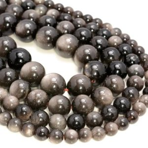Genuine Silver Obsidian Gemstone Grade AAA Round 6mm 8mm 10mm 12mm Loose Beads (A264) | Natural genuine beads Obsidian beads for beading and jewelry making.  #jewelry #beads #beadedjewelry #diyjewelry #jewelrymaking #beadstore #beading #affiliate #ad