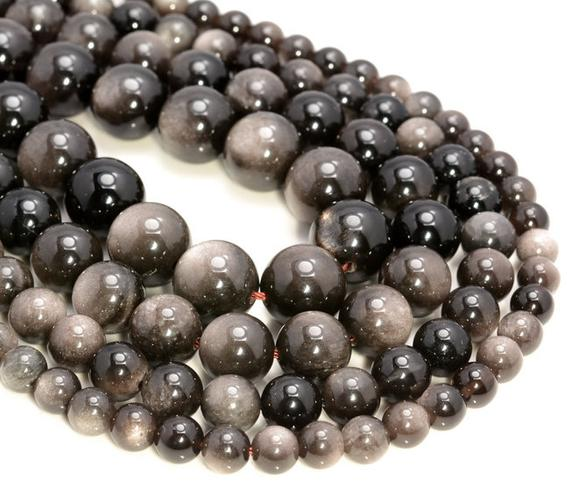 Genuine Silver Obsidian Gemstone Grade Aaa Round 6mm 8mm 10mm 12mm Loose Beads (a264)