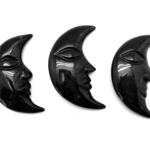 "Shop Obsidian Shapes! Black Obsidian crescent moon stone (~2"") – black obsidian moon – black obsidian Crystal Moon Hand Carved Face – black obsidian stone 