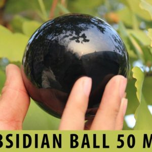 "Shop Obsidian Shapes! Black Obsidian Crystal Ball Sphere 50mm (1.96"") 