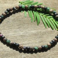 Men's Ruby In Zoisite And Ocean Jasper Healing Stone Bracelet Or Anklet With Positive Healing Energy! | Natural genuine Gemstone jewelry. Buy crystal jewelry, handmade handcrafted artisan jewelry for women.  Unique handmade gift ideas. #jewelry #beadedjewelry #beadedjewelry #gift #shopping #handmadejewelry #fashion #style #product #jewelry #affiliate #ad