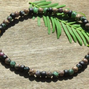 Shop Ocean Jasper Bracelets! Men's Ruby in Zoisite and Ocean Jasper Healing Stone Bracelet or Anklet with Positive Healing Energy! | Natural genuine Ocean Jasper bracelets. Buy crystal jewelry, handmade handcrafted artisan jewelry for women.  Unique handmade gift ideas. #jewelry #beadedbracelets #beadedjewelry #gift #shopping #handmadejewelry #fashion #style #product #bracelets #affiliate #ad