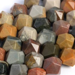 Shop Ocean Jasper Faceted Beads! Genuine Natural Ocean Jasper Loose Beads Star Cut Faceted Shape 5-6mm 7-8mm 9-10mm | Natural genuine faceted Ocean Jasper beads for beading and jewelry making.  #jewelry #beads #beadedjewelry #diyjewelry #jewelrymaking #beadstore #beading #affiliate #ad