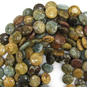 "18mm Natural Ocean Jasper Coin Beads 15.5"" Strand 12863 