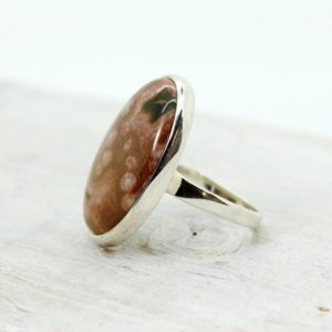 Shop Ocean Jasper Rings! Ocean jasper cab stone ring oval shape genuine ocean jasper set on 925 sterling silver medium size ring looks amazing for anyone | Natural genuine Ocean Jasper rings, simple unique handcrafted gemstone rings. #rings #jewelry #shopping #gift #handmade #fashion #style #affiliate #ad