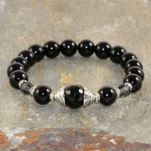 Shop Onyx Jewelry! 8mm Black Onyx Bracelet, AA Grade, Wrist Mala Beads, Yogi Gift, Gemstone Bracelet, Reiki Bracelet, Healing Bracelet, Womens Yoga Bracelet | Natural genuine Onyx jewelry. Buy crystal jewelry, handmade handcrafted artisan jewelry for women.  Unique handmade gift ideas. #jewelry #beadedjewelry #beadedjewelry #gift #shopping #handmadejewelry #fashion #style #product #jewelry #affiliate #ad