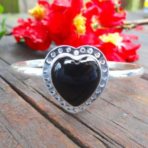 Boho Black Onyx Heart Stone Sterling Silver Bangle Bracelet, Handmade in 925 Silver, Statement Metalwork Cuff, Black Onyx Bracelet, Heart | Natural genuine Array bracelets. Buy crystal jewelry, handmade handcrafted artisan jewelry for women.  Unique handmade gift ideas. #jewelry #beadedbracelets #beadedjewelry #gift #shopping #handmadejewelry #fashion #style #product #bracelets #affiliate #ad