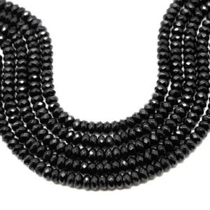 "Shop Onyx Faceted Beads! Black onyx beads,rondelle beads,faceted beads,faceted gemstone beads,black beads,black stone beads,jewelry making beads – 16"" Strand 