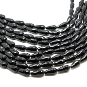 "Shop Onyx Faceted Beads! Black onyx drops,faceted teardrop beads,onyx beads,round drop beads,semiprecious beads,gemstone beads,AA Quality – 16"" Strand 
