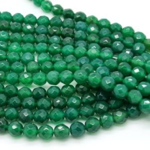 "Shop Onyx Faceted Beads! Gu-0615-2 – Green Onyx Faceted Round Beads – Gemstone Beads – 8mm – Full 16"" Strand 