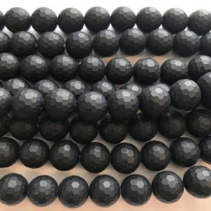 "Shop Onyx Faceted Beads! large hole 12mm faceted matt onyx Round Gemstone Beads–7.5""–1 strand/3 strands 