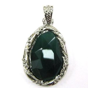 Shop Onyx Bead Shapes! 35mm green onyx silver plated flat teardrop pendant bead 33849 | Natural genuine other-shape Onyx beads for beading and jewelry making.  #jewelry #beads #beadedjewelry #diyjewelry #jewelrymaking #beadstore #beading #affiliate #ad