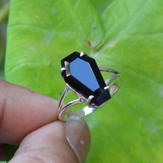 Coffin Ring, Amazing Black Onyx Coffin Ring, Black Onyx 10x17mm Coffin Gemstone Ring, Sterling Silver Ring, Coffin Engagement Ring