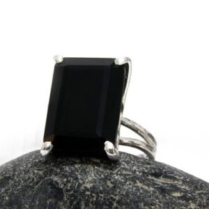 Shop Onyx Rings! Gemstone Ring, silver Ring, onyx Ring, silver Black Ring, rectangular Ring, rectangle Ring, sterling Silver Ring, double Ba | Natural genuine Onyx rings, simple unique handcrafted gemstone rings. #rings #jewelry #shopping #gift #handmade #fashion #style #affiliate #ad
