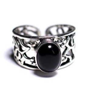 Shop Men's Gemstone Rings! N224 – Ring 925 sterling silver and stone – Onyx Black oval 9x7mm | Natural genuine Agate rings, simple unique handcrafted gemstone rings. #rings #jewelry #shopping #gift #handmade #fashion #style #affiliate #ad