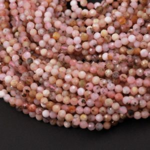 """Shop Faceted Gemstone Beads! Natural Peruvian Pink Opal Beads 3mm 4mm 5mm 6mm Faceted Round Micro Faceted Laser Diamond Cut Pink Gemstone 15.5"""" Strand 
