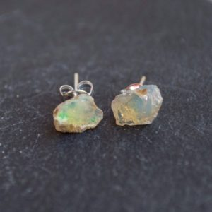 Opal earrings | rough Ethiopian opal | gemstone earrings | handmade earrings | raw opal jewelry | rainbow earrings | bohemian jewelry | | Natural genuine Opal earrings. Buy crystal jewelry, handmade handcrafted artisan jewelry for women.  Unique handmade gift ideas. #jewelry #beadedearrings #beadedjewelry #gift #shopping #handmadejewelry #fashion #style #product #earrings #affiliate #ad