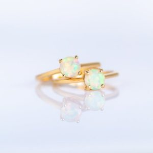 Shop Opal Jewelry! Fire Opal Ring Gold, Opal Engagement Ring, Dainty Opal Ring, Solitaire Ring, Opal Stacking Rings for Women, October Birthstone, Size 5 6 7 8 | Natural genuine Opal jewelry. Buy handcrafted artisan wedding jewelry.  Unique handmade bridal jewelry gift ideas. #jewelry #beadedjewelry #gift #crystaljewelry #shopping #handmadejewelry #wedding #bridal #jewelry #affiliate #ad