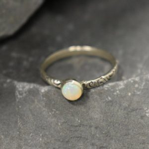 Shop Opal Rings! Precious Opal Ring, Australian Opal, Tribal Ring, October Birthstone, Stackable Ring, Dainty Ring, White Solitaire Ring, Solid Silver Ring | Natural genuine Opal rings, simple unique handcrafted gemstone rings. #rings #jewelry #shopping #gift #handmade #fashion #style #affiliate #ad