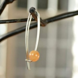 Shop Aventurine Earrings! Orange Aventurine Earrings, Modern Earrings, Tangerine Stone Earrings, Sterling Silver Earrings | Natural genuine Aventurine earrings. Buy crystal jewelry, handmade handcrafted artisan jewelry for women.  Unique handmade gift ideas. #jewelry #beadedearrings #beadedjewelry #gift #shopping #handmadejewelry #fashion #style #product #earrings #affiliate #ad