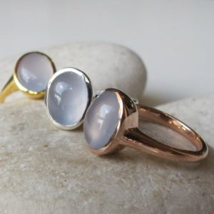 Shop Blue Chalcedony Rings! Oval Blue Chalcedony Ring- Solitaire Blue Gemstone Ring- Simple Blue Stone Ring- Rose Gold Ring- Cabochon Smooth Stone Ring- Something Blue | Natural genuine Blue Chalcedony rings, simple unique handcrafted gemstone rings. #rings #jewelry #shopping #gift #handmade #fashion #style #affiliate #ad