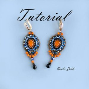 Shop Jewelry Making Tutorials! Pattern Beaded Earrings  Tutorial Beading  Jewelry Chandelier Crystal Earrings Braided red cabochon  Beading  Earrings | Shop jewelry making and beading supplies, tools & findings for DIY jewelry making and crafts. #jewelrymaking #diyjewelry #jewelrycrafts #jewelrysupplies #beading #affiliate #ad