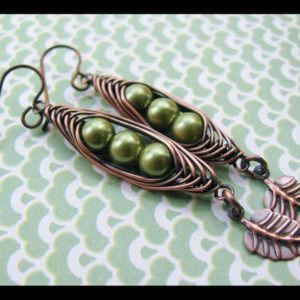 Shop Pearl Earrings! Peas in a Pod- Herringbone Wrapped Copper and Green Pearl Earrings | Natural genuine Pearl earrings. Buy crystal jewelry, handmade handcrafted artisan jewelry for women.  Unique handmade gift ideas. #jewelry #beadedearrings #beadedjewelry #gift #shopping #handmadejewelry #fashion #style #product #earrings #affiliate #ad