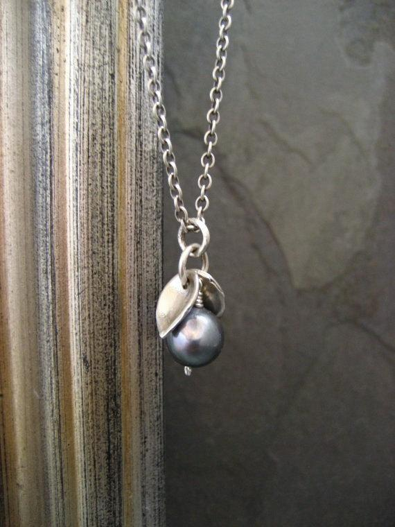 Pearl And Leaf Necklace - Solid Sterling Silver
