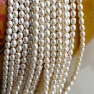 Shop Pearl Bead Shapes! 4-5mm Pearl Rice Beads, High Luster Pearls, Rice Pearls, White Pearls, Genuine Oval Pearls, Smooth Pearls, Pearl Necklace Beads | Natural genuine other-shape Pearl beads for beading and jewelry making.  #jewelry #beads #beadedjewelry #diyjewelry #jewelrymaking #beadstore #beading #affiliate #ad