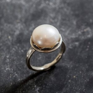 Shop Pearl Rings! Pearl Ring, White Pearl, Natural Pearl Ring, June Birthstone, Vintage Pearl Ring, Vintage Style, June Ring, Solid Silver Ring, Pearl | Natural genuine Pearl rings, simple unique handcrafted gemstone rings. #rings #jewelry #shopping #gift #handmade #fashion #style #affiliate #ad