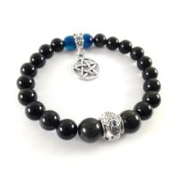 Pentacle Charm Braclet – Black Magic Protection Bracelet Anti Evil Eye Amulet – Rainbow Obsidian Bracelet – Witchcraft Gift Idea | Natural genuine Gemstone jewelry. Buy crystal jewelry, handmade handcrafted artisan jewelry for women.  Unique handmade gift ideas. #jewelry #beadedjewelry #beadedjewelry #gift #shopping #handmadejewelry #fashion #style #product #jewelry #affiliate #ad