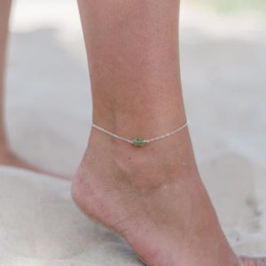 "Shop Peridot Bracelets! Raw green peridot crystal nugget anklet bracelet in gold, silver, bronze or rose gold – 8"" chain with 2"" adjustable extender 