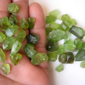 Shop Peridot Chip & Nugget Beads! 5 Pieces Huge Rare 20mm To 10mm Raw Rough Peridot Loose Gemstones Cabochons, Green Rough Raw Peridot Loose Cabochons, GDS1048/16 | Natural genuine chip Peridot beads for beading and jewelry making.  #jewelry #beads #beadedjewelry #diyjewelry #jewelrymaking #beadstore #beading #affiliate #ad