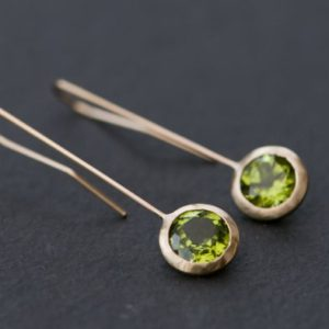 Shop Peridot Jewelry! 18K Gold Dangle Earrings – 18K Gold Peridot Drop Earrings – Green Gemstone Gold Earrings – 18K Gold Lollipop Earrings – Free Shipping | Natural genuine Peridot jewelry. Buy crystal jewelry, handmade handcrafted artisan jewelry for women.  Unique handmade gift ideas. #jewelry #beadedjewelry #beadedjewelry #gift #shopping #handmadejewelry #fashion #style #product #jewelry #affiliate #ad