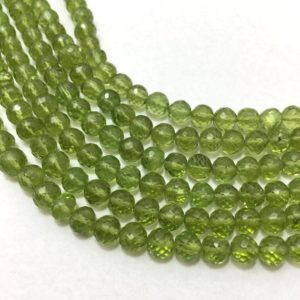Shop Peridot Faceted Beads! Natural Peridot Faceted Round Beads, 5mm to 6mm, 8 inches Strand, Green Beads, Gemstone Beads, Semiprecious Stone Beads | Natural genuine faceted Peridot beads for beading and jewelry making.  #jewelry #beads #beadedjewelry #diyjewelry #jewelrymaking #beadstore #beading #affiliate #ad