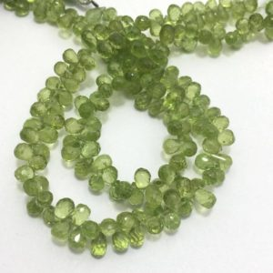 "Shop Peridot Bead Shapes! 57 Cts Peridot Faceted drops 5 to 6 mm 8""/Gemstone Beads/Semi Precious Beads/Peridot Beads/Peridot Faceted Drops 
