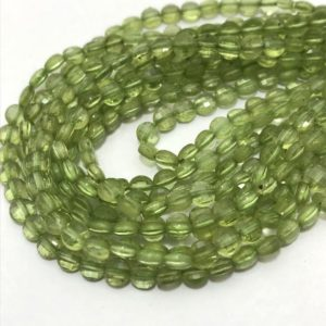 """Shop Peridot Bead Shapes! Peridot Faceted Coin 4 mm 13""""/Gemstone Beads/Semi Precious Beads/Faceted Beads/Coin Shaped Beads/Peridot Beads/Peridot Coins 
