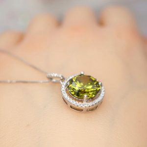 Shop Peridot Pendants! Round Peridot Necklace – Sterling Silver Solitaire August Birthstone Jewelry – Circle Green Gemstone Peridot Pendant | Natural genuine Peridot pendants. Buy crystal jewelry, handmade handcrafted artisan jewelry for women.  Unique handmade gift ideas. #jewelry #beadedpendants #beadedjewelry #gift #shopping #handmadejewelry #fashion #style #product #pendants #affiliate #ad